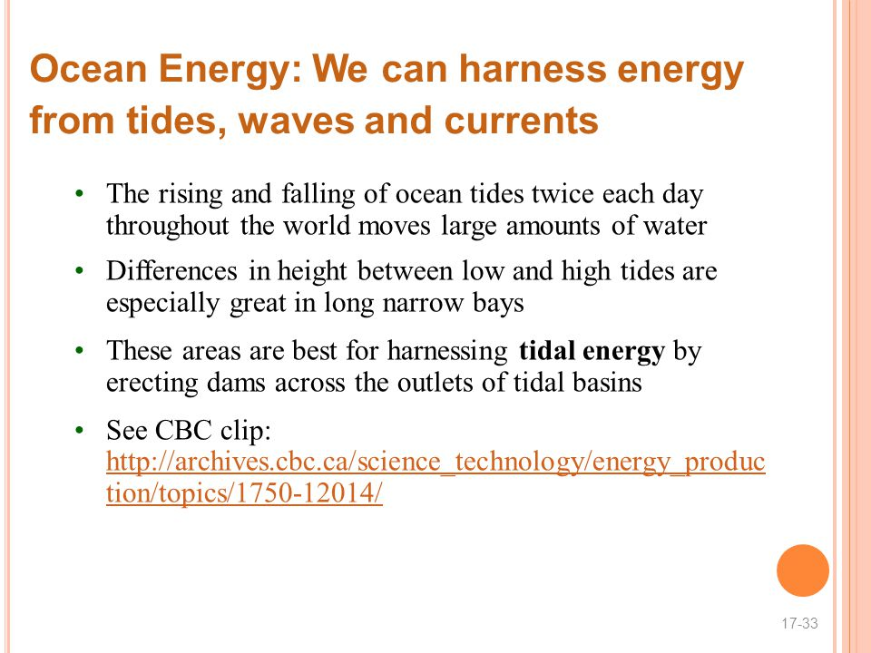 Ocean Energy: We can harness energy from tides, waves and currents
