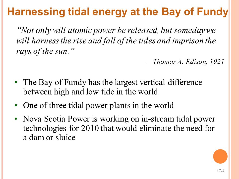 Harnessing tidal energy at the Bay of Fundy
