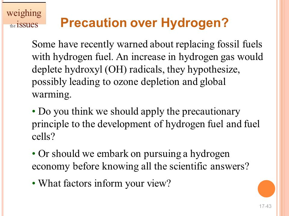 Precaution over Hydrogen