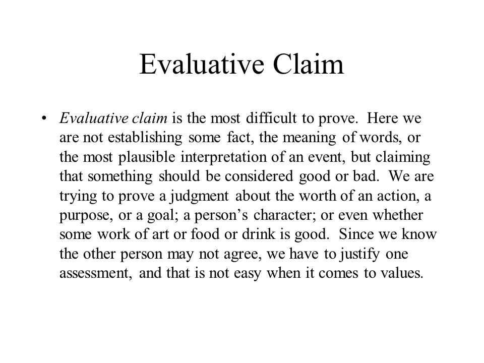 Evaluative Claim