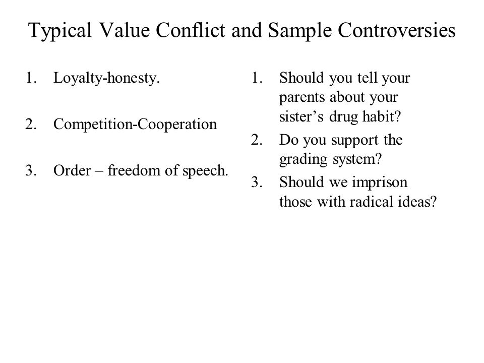 Typical Value Conflict and Sample Controversies