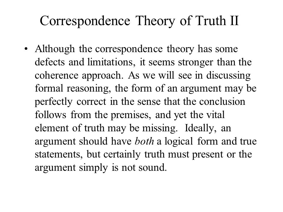 Correspondence Theory of Truth II