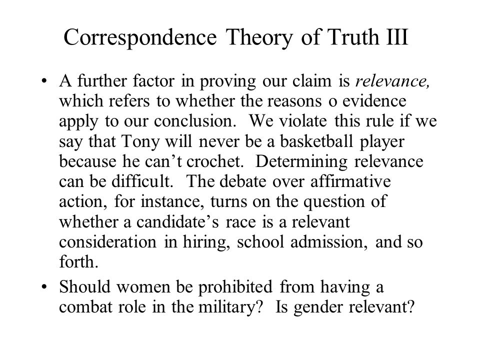 Correspondence Theory of Truth III
