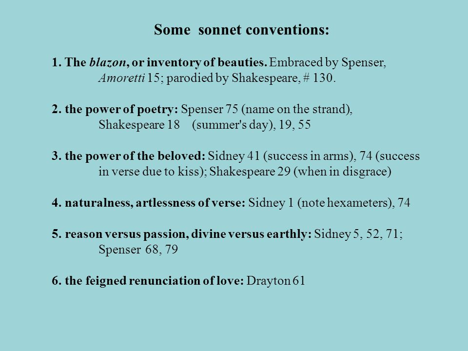 Some sonnet conventions:
