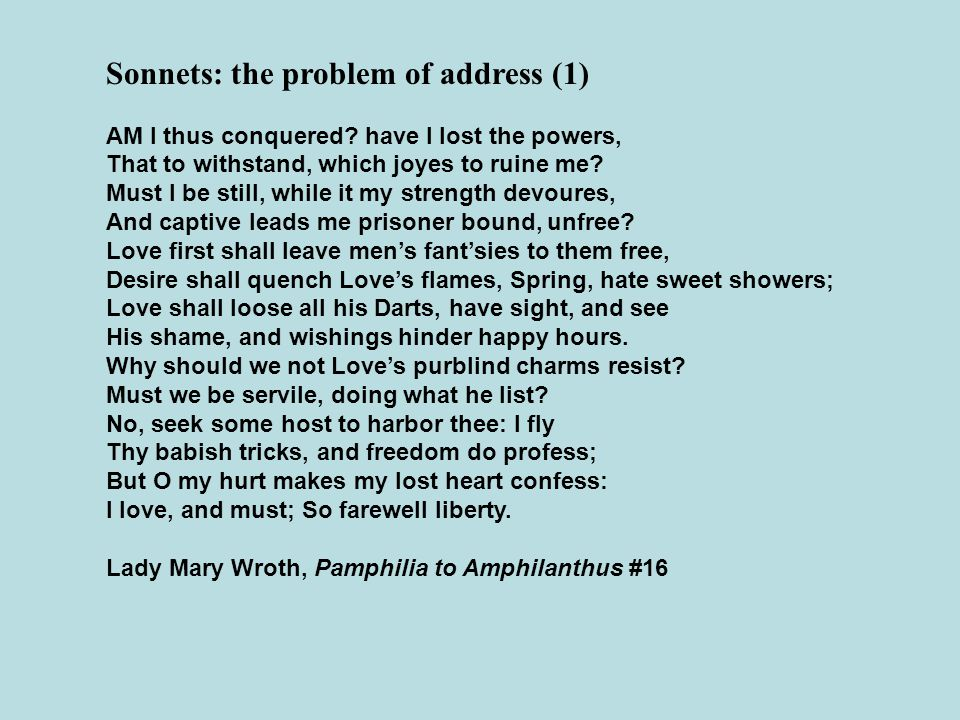 Sonnets: the problem of address (1)