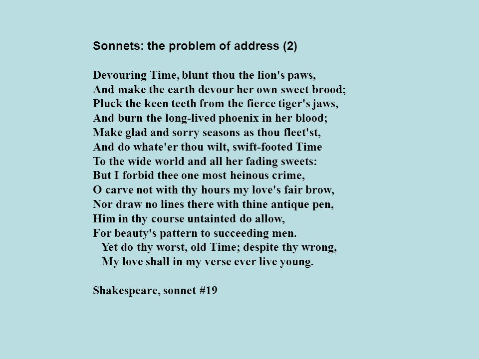 Sonnets: the problem of address (2)