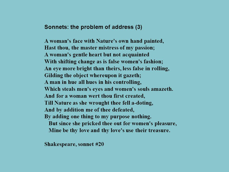 Sonnets: the problem of address (3)