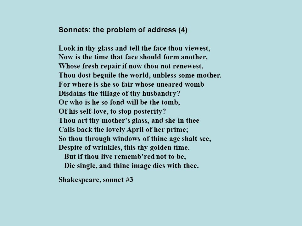 Sonnets: the problem of address (4)