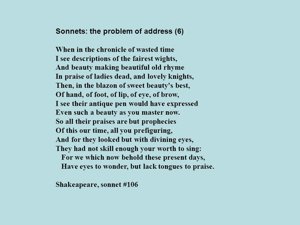 Sonnets: the problem of address (6)