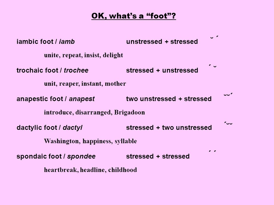 OK, what's a foot iambic foot / iamb unstressed + stressed ˘ ́