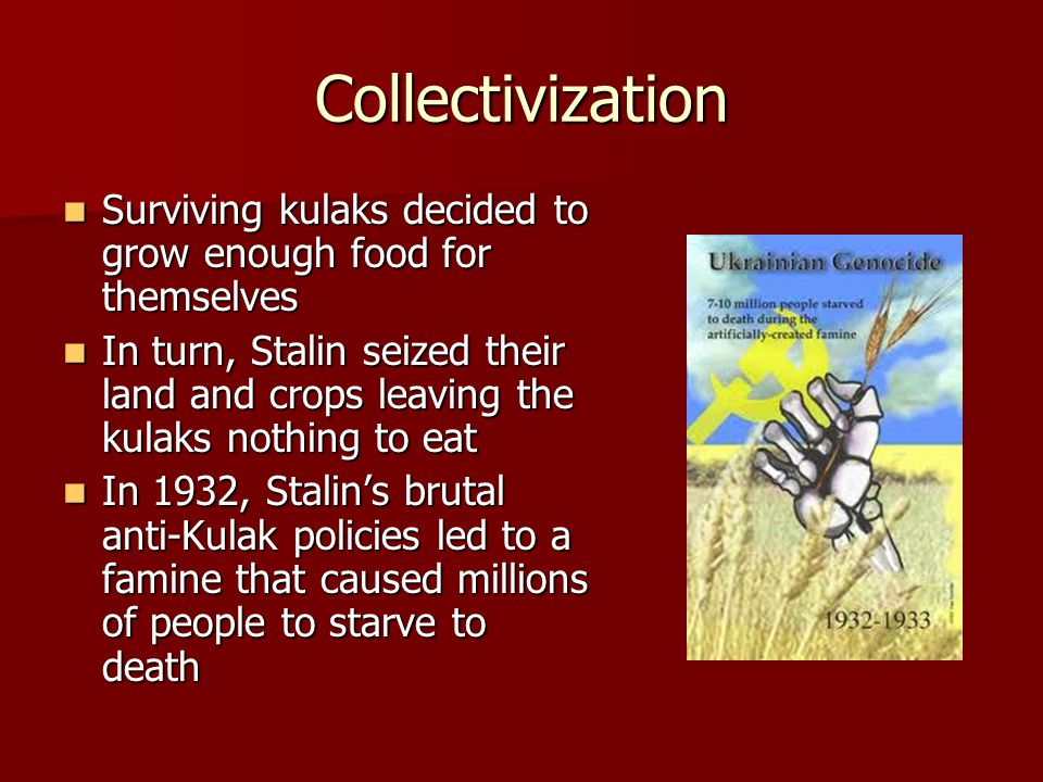 Collectivization Surviving kulaks decided to grow enough food for themselves.