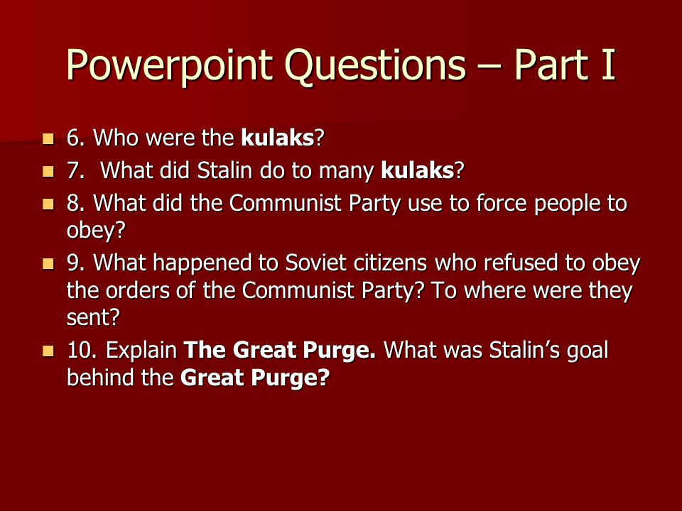Powerpoint Questions – Part I