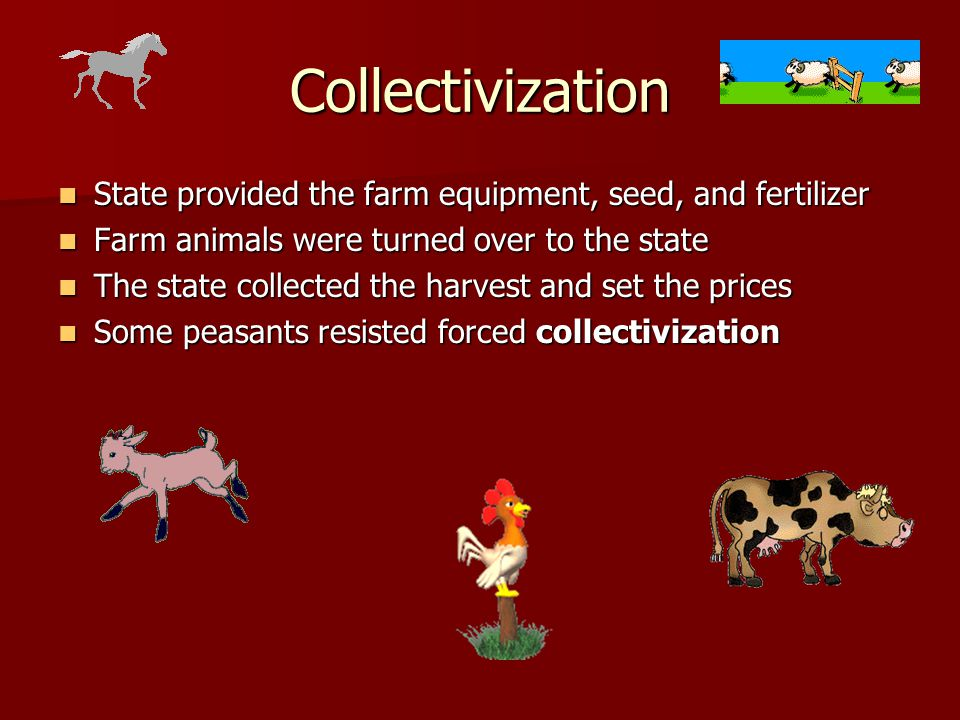 Collectivization State provided the farm equipment, seed, and fertilizer. Farm animals were turned over to the state.