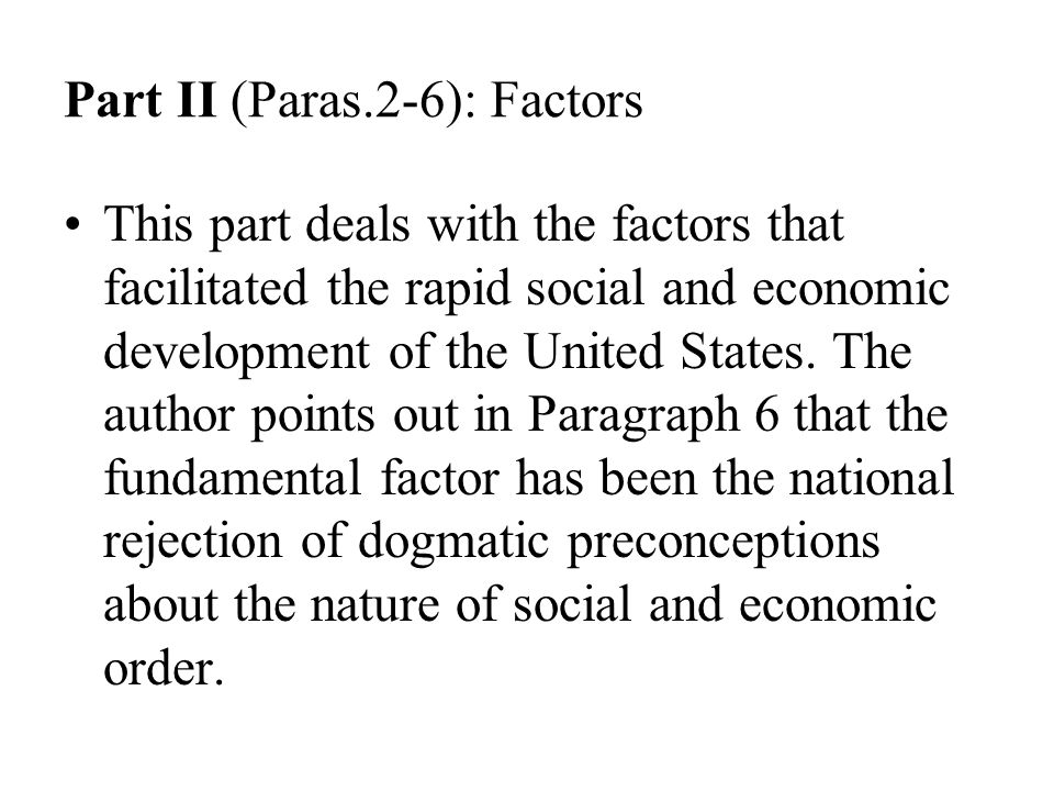 Part II (Paras.2-6): Factors