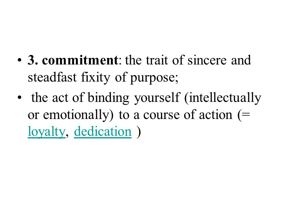 3. commitment: the trait of sincere and steadfast fixity of purpose;