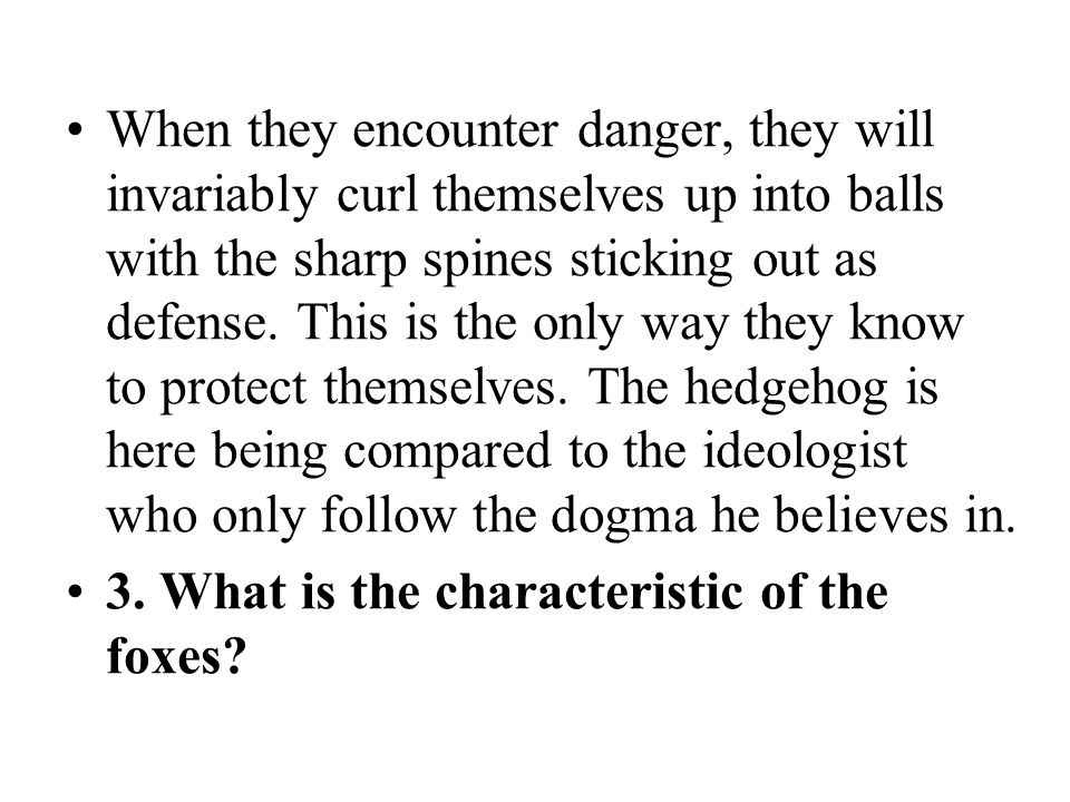 When they encounter danger, they will invariably curl themselves up into balls with the sharp spines sticking out as defense. This is the only way they know to protect themselves. The hedgehog is here being compared to the ideologist who only follow the dogma he believes in.
