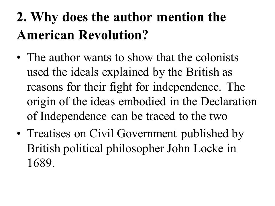 2. Why does the author mention the American Revolution