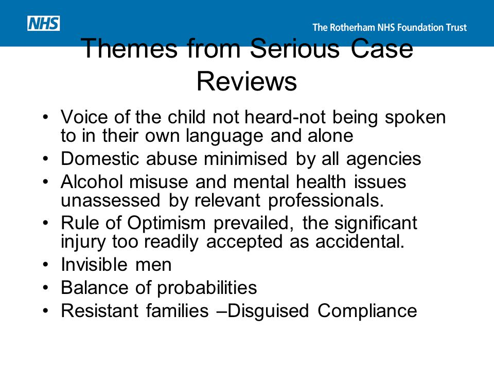 Themes from Serious Case Reviews