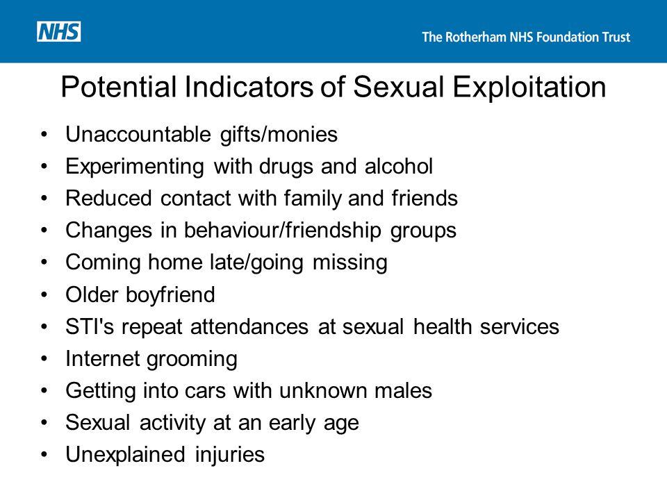 Potential Indicators of Sexual Exploitation