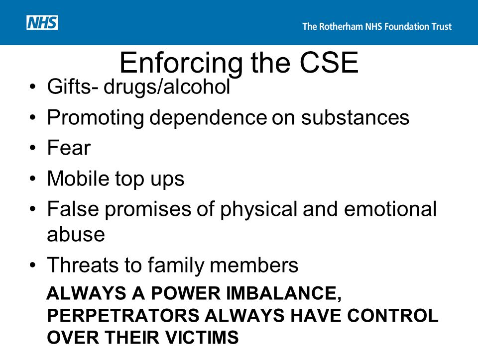 Enforcing the CSE Gifts- drugs/alcohol