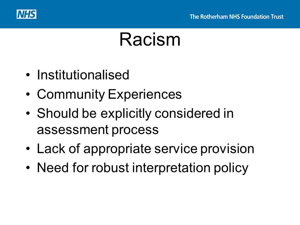Racism Institutionalised Community Experiences