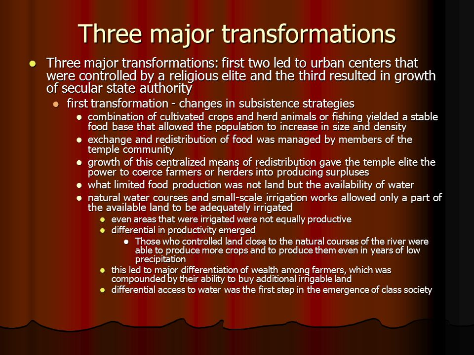 Three major transformations