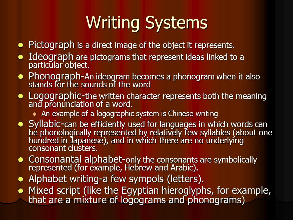 Writing Systems Pictograph is a direct image of the object it represents.