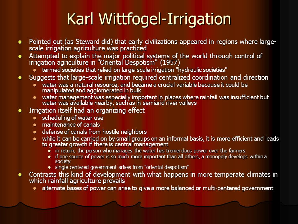 Karl Wittfogel-Irrigation