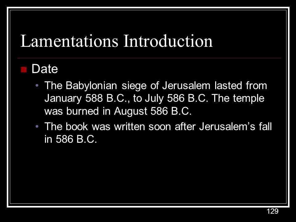 Lamentations Introduction