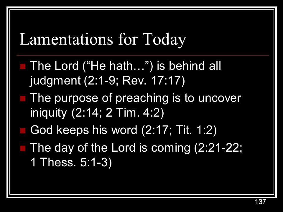 Lamentations for Today
