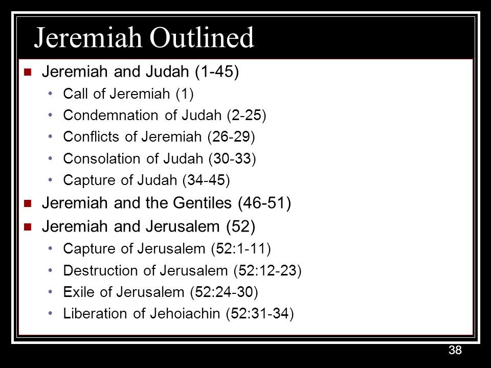 Jeremiah Outlined Jeremiah and Judah (1-45)