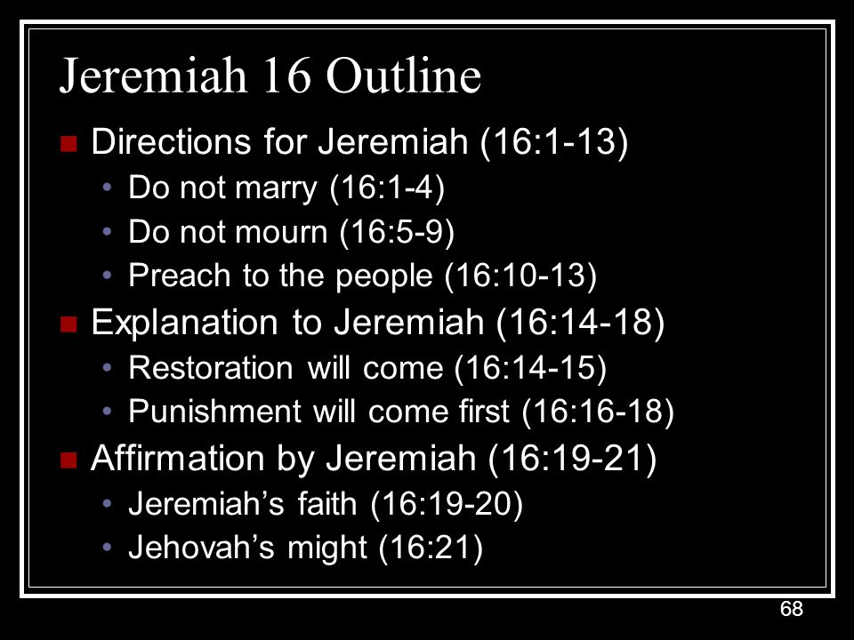 Jeremiah 16 Outline Directions for Jeremiah (16:1-13)