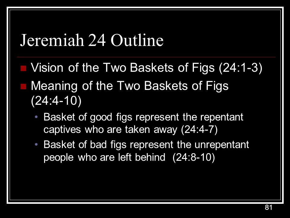 Jeremiah 24 Outline Vision of the Two Baskets of Figs (24:1-3)