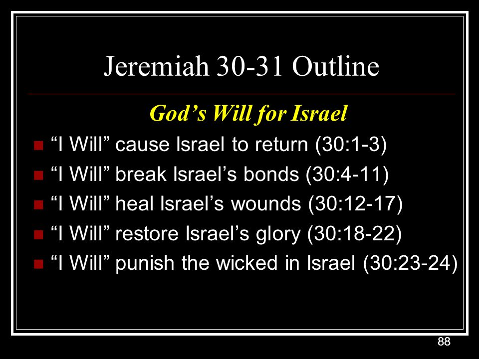 Jeremiah 30-31 Outline God's Will for Israel