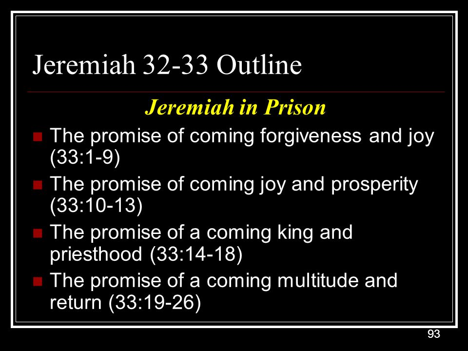 Jeremiah 32-33 Outline Jeremiah in Prison