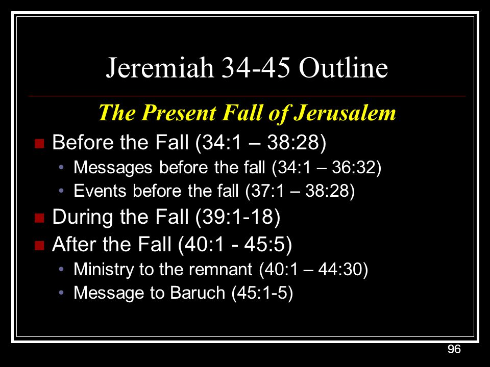 The Present Fall of Jerusalem