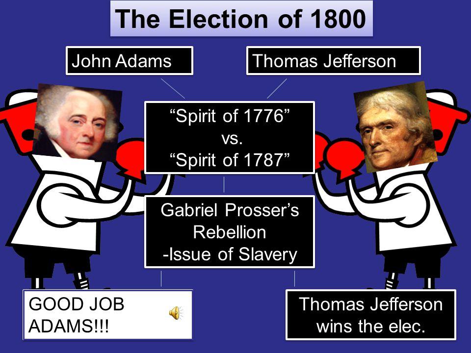 The Election of 1800 John Adams Thomas Jefferson Spirit of 1776 vs.