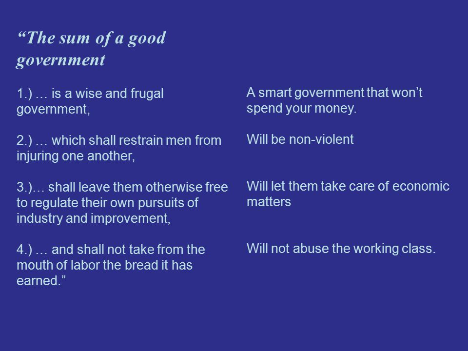 The sum of a good government