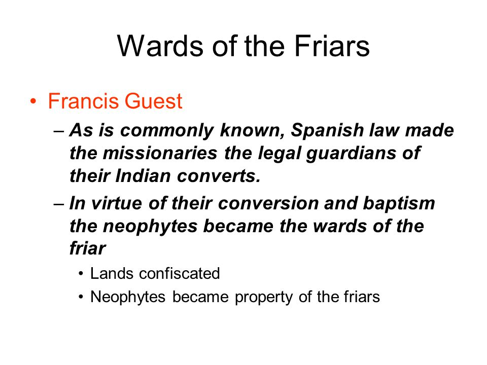 Wards of the Friars Francis Guest