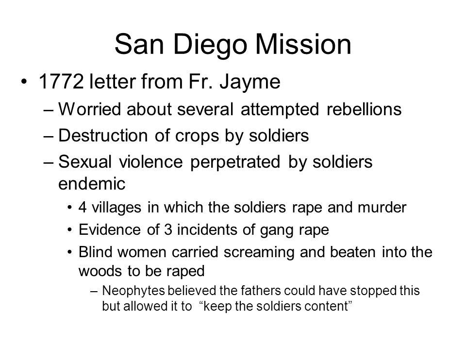 San Diego Mission 1772 letter from Fr. Jayme