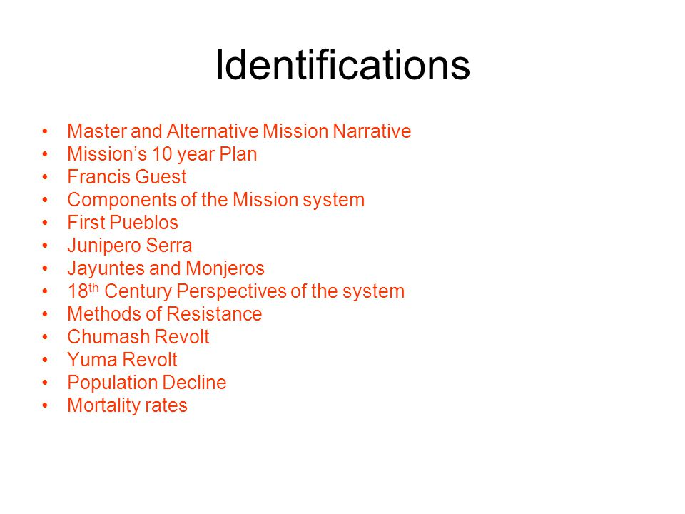 Identifications Master and Alternative Mission Narrative