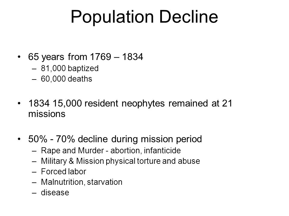Population Decline 65 years from 1769 – 1834