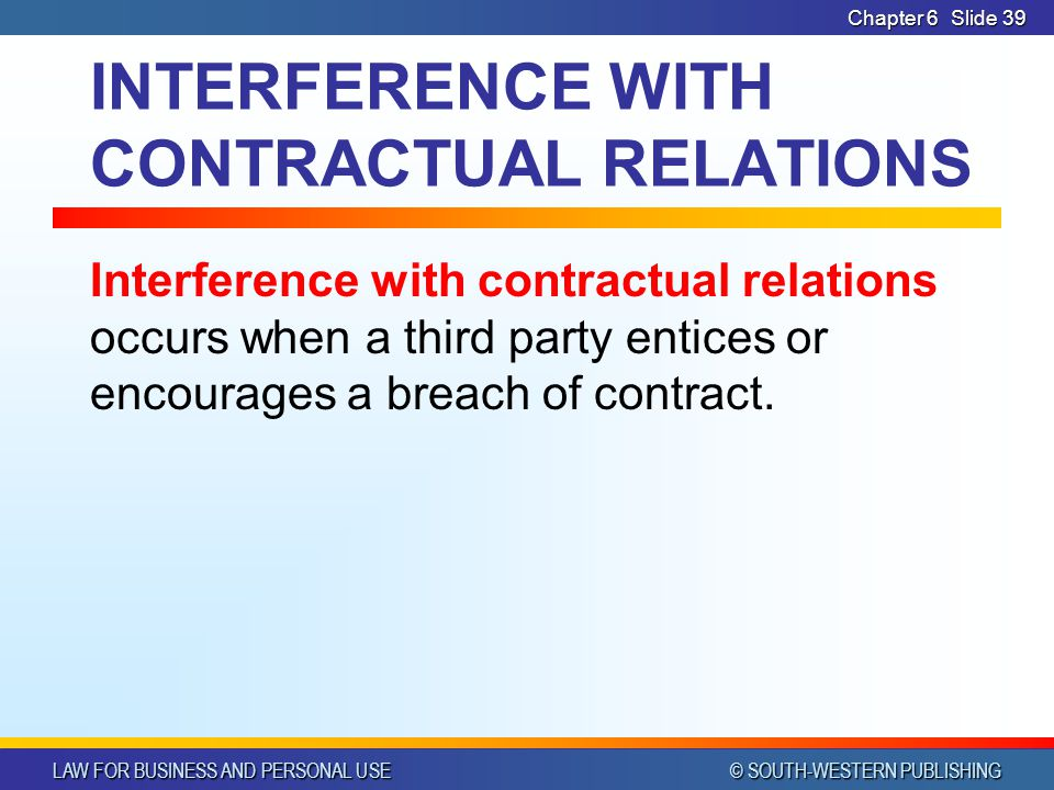 INTERFERENCE WITH CONTRACTUAL RELATIONS