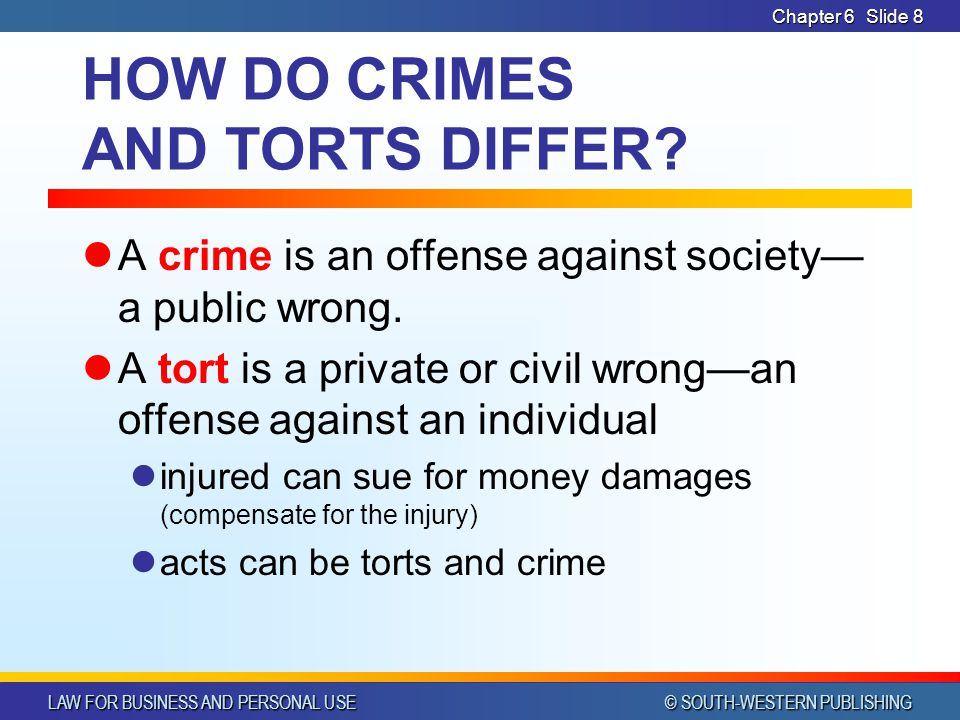 HOW DO CRIMES AND TORTS DIFFER
