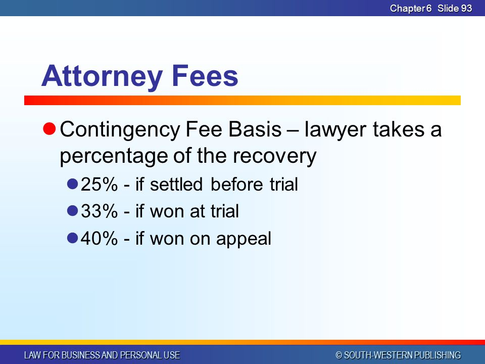 CHAPTER 6 4/14/2017. Chapter 6. Attorney Fees. Contingency Fee Basis – lawyer takes a percentage of the recovery.