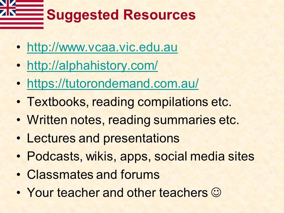Suggested Resources http://www.vcaa.vic.edu.au