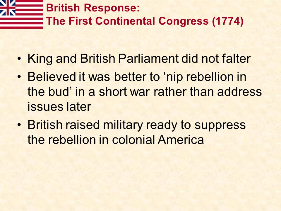 King and British Parliament did not falter