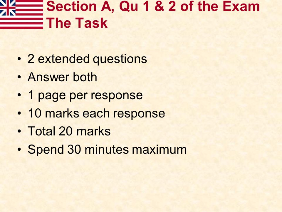 Section A, Qu 1 & 2 of the Exam The Task