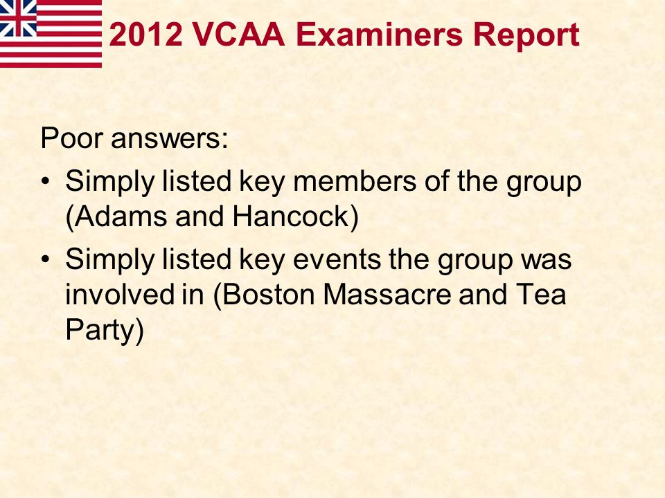2012 VCAA Examiners Report Poor answers: