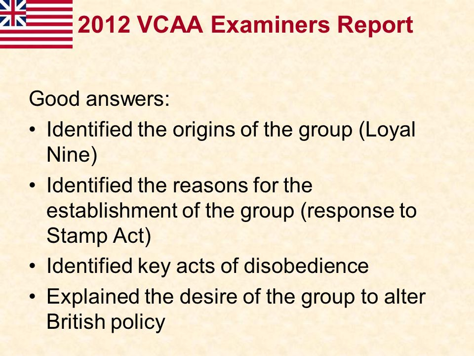 2012 VCAA Examiners Report Good answers: